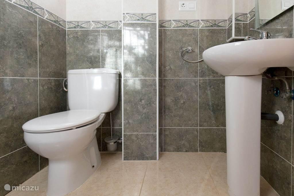 Op de begane grond is een apart toilet en een kleine douche gelegenheid.