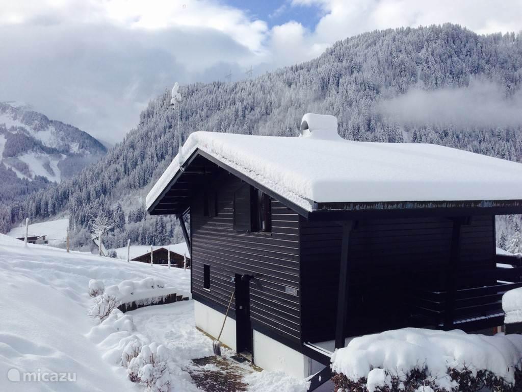 Het chalet in de winter