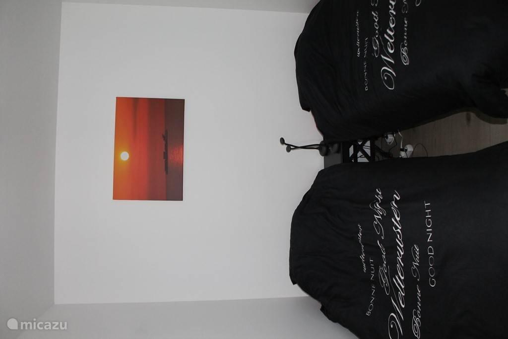 Slaapkamer beneden met 2 enkel bedden