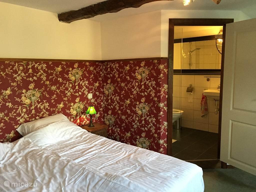 De Roos met badkamer, onze klassieker. 22 vierkante meter. Naast het twee-prsoonsbed is er een extra derde bed.
