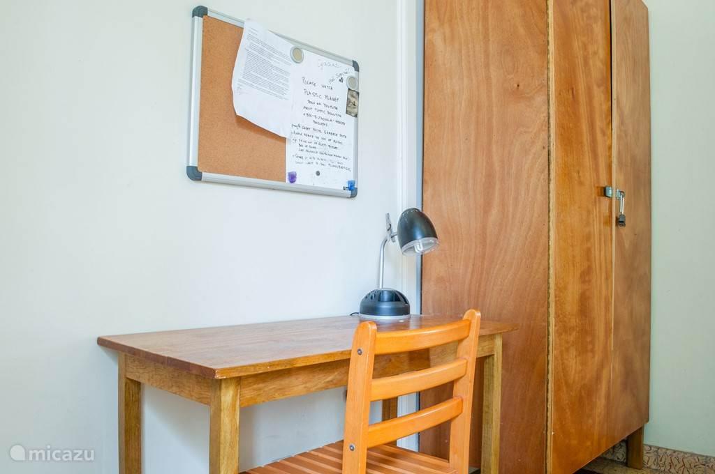 Iedere Kamer beschikt over een tafeltje en armoire met ingebouwde kluis.