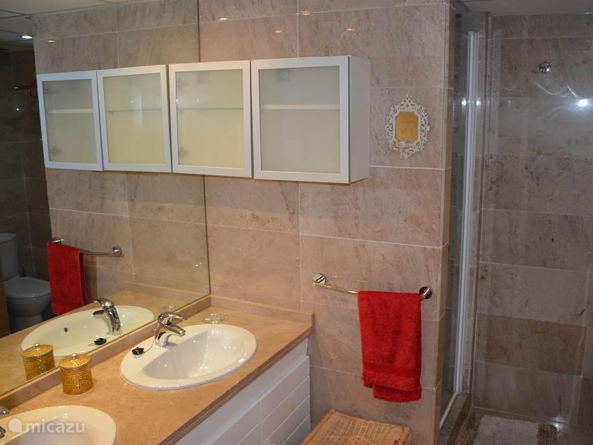 Badkamer bij hoofdslaapkamer met inloopdouche, met apart bad en douche, toilet en 2 wasbakken.