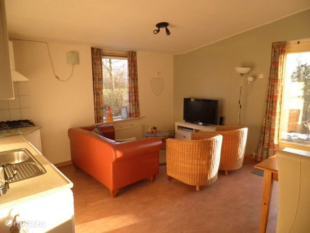 Ander hoek woonkamer met zicht op deuren slaapkamer en badkamer.