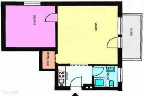 Indeling van appartement 45m2