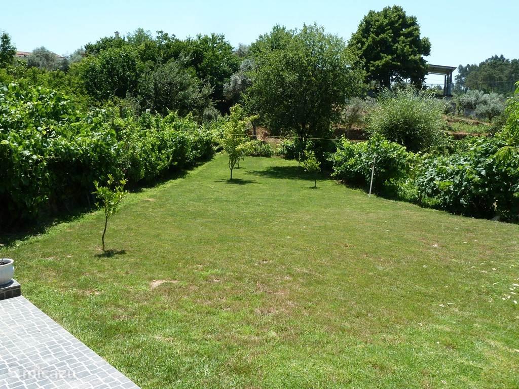 De ruime tuin gezien vanaf het terras, met volop ruimte voor vermaak.