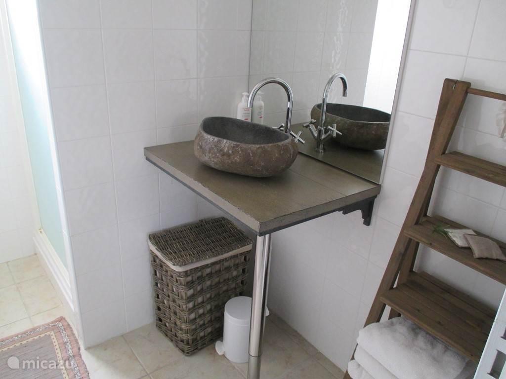 Badkamer 2 met 1 wastafel en douchecabine.