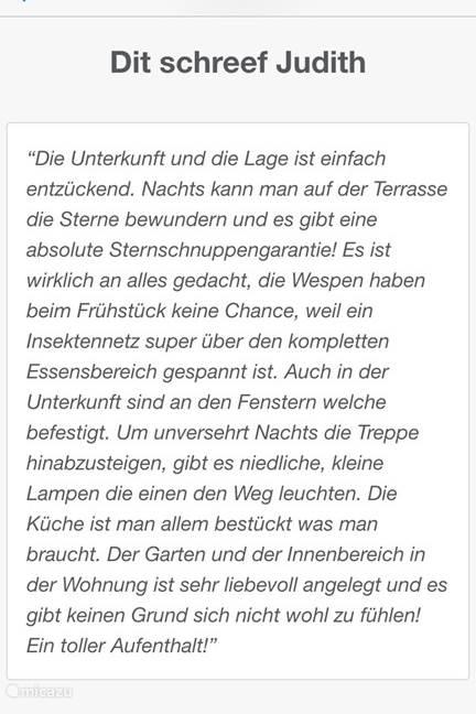 En onze eerste Duitse recensie ,en gelijk weer eentje om trots op te zijn! Wie kan het beter weten dan onze eigen gasten....?