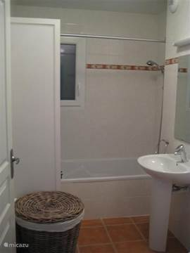 The downstairs bathroom with bath and shower, toilet, sink and large closet with storage for towels and toiletries.