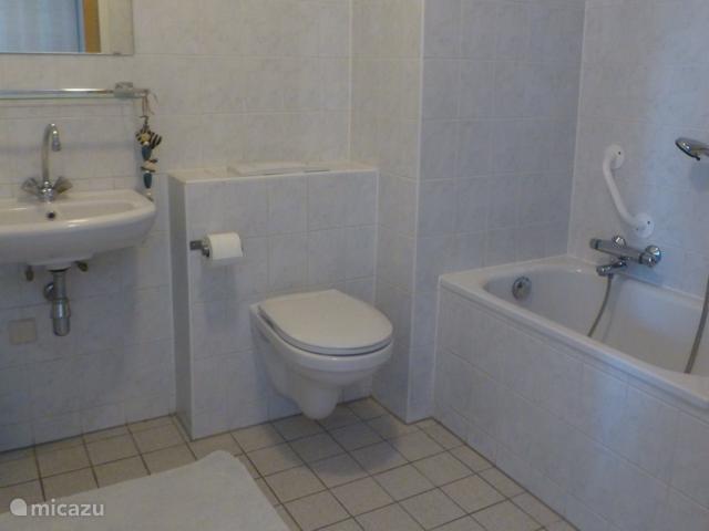 badkamer; er is nog een aparte ruimte met een wastafel en een douche