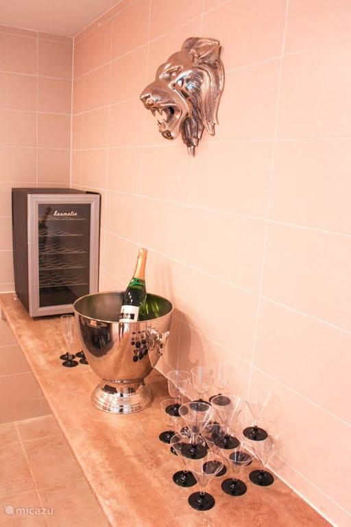 Bar met champagne koelkast en magnetron
