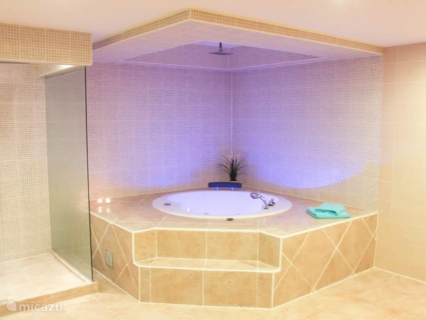 Badkamer met jacuzzi en kleurverlichting