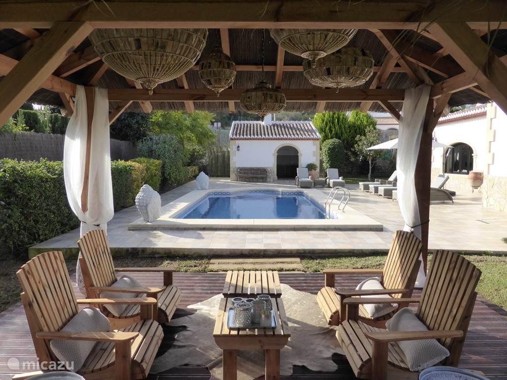 Uitzicht op het zwembad vanuit de patio