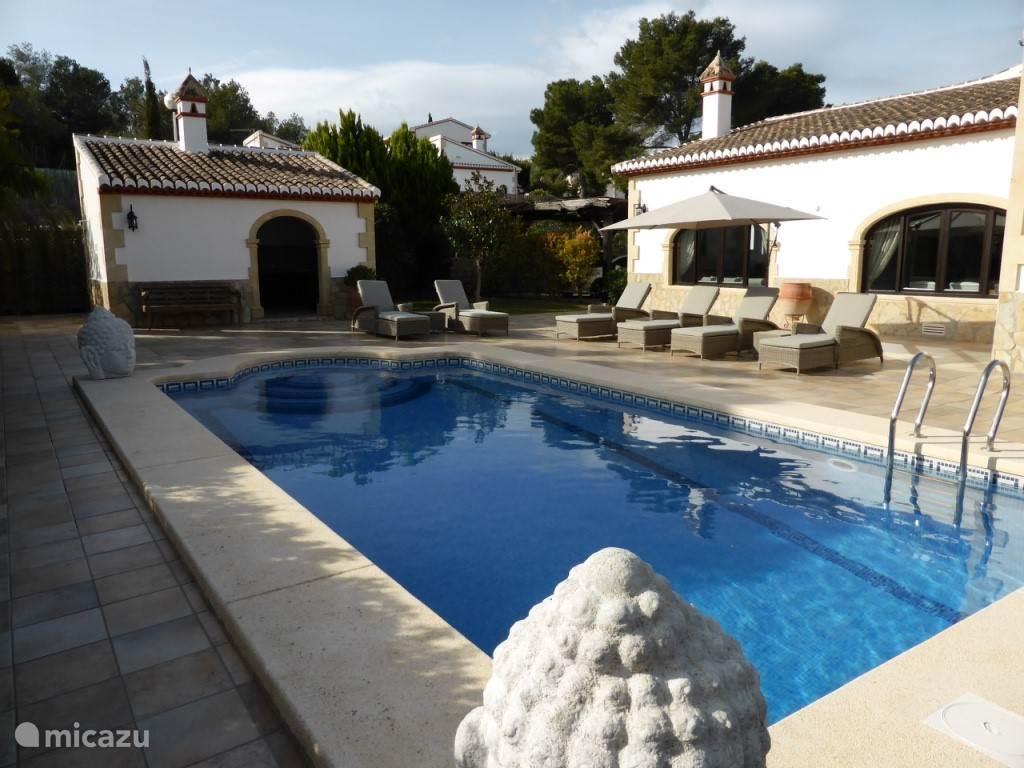 Zwembad met heerlijke verstelbare zonnebedden