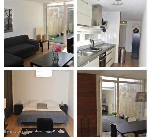 Living, kitchen, sleeping room, dining room
