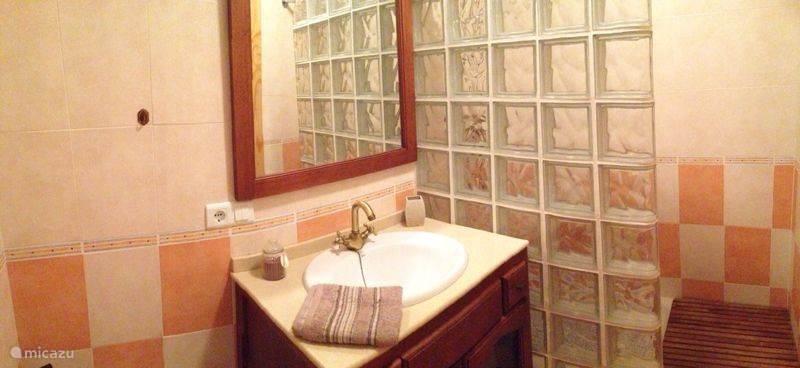 Badkamer met inloopdouche, wastafel, toilet en bidet