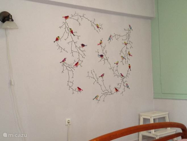 The wall decoration in the bedroom