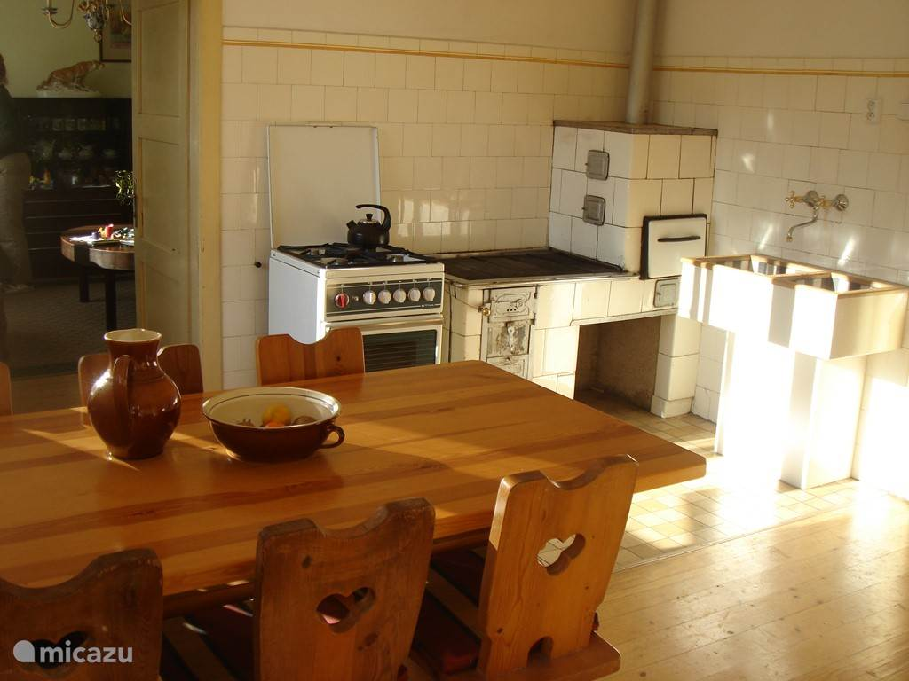Kitchen with original wood stove.