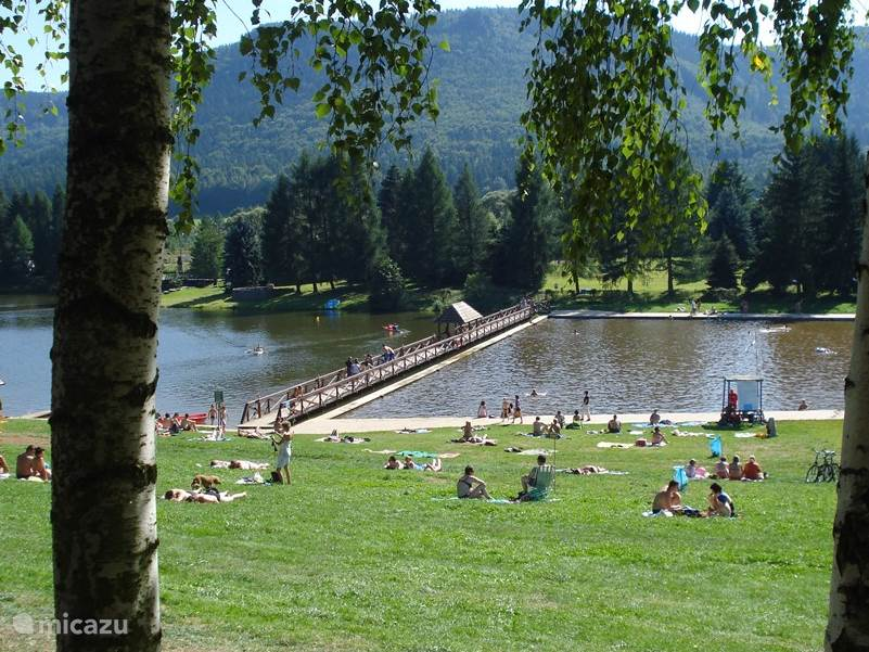 Swimming lake Radkow Poland within walking and cycling distance of 2 km from the house.