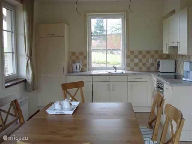 Open kitchen below.