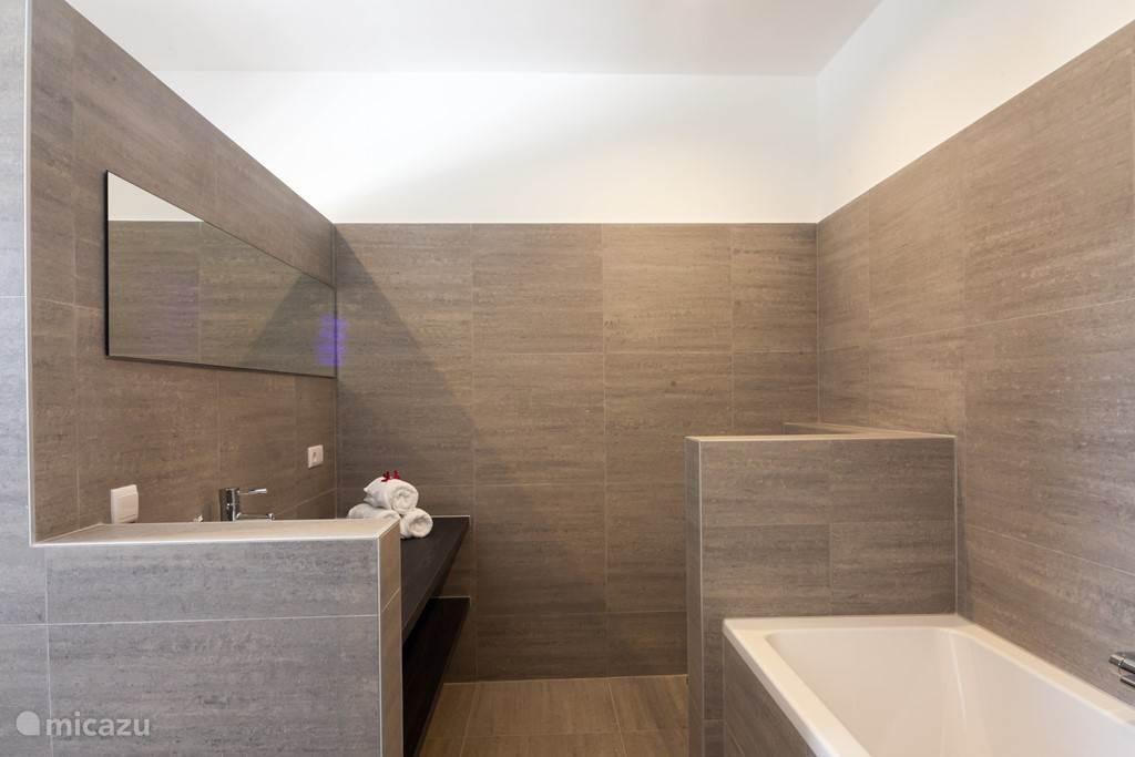 En-suite badkamer aan de master met ligbad en inloopdouche