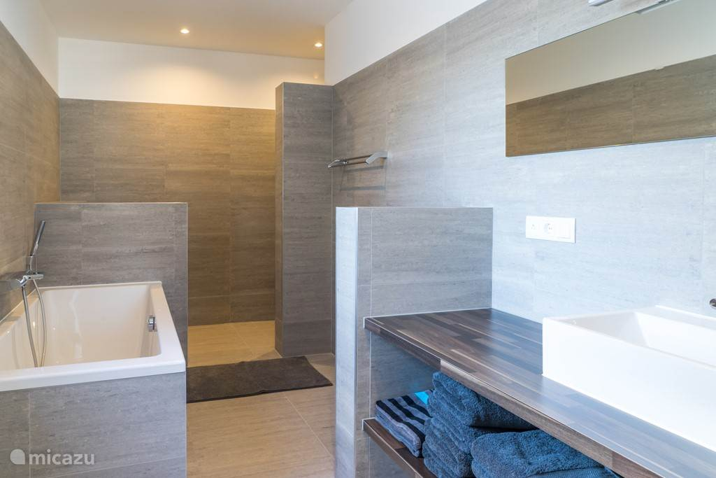 Ensuite bathroom with bath and shower in the master bedroom