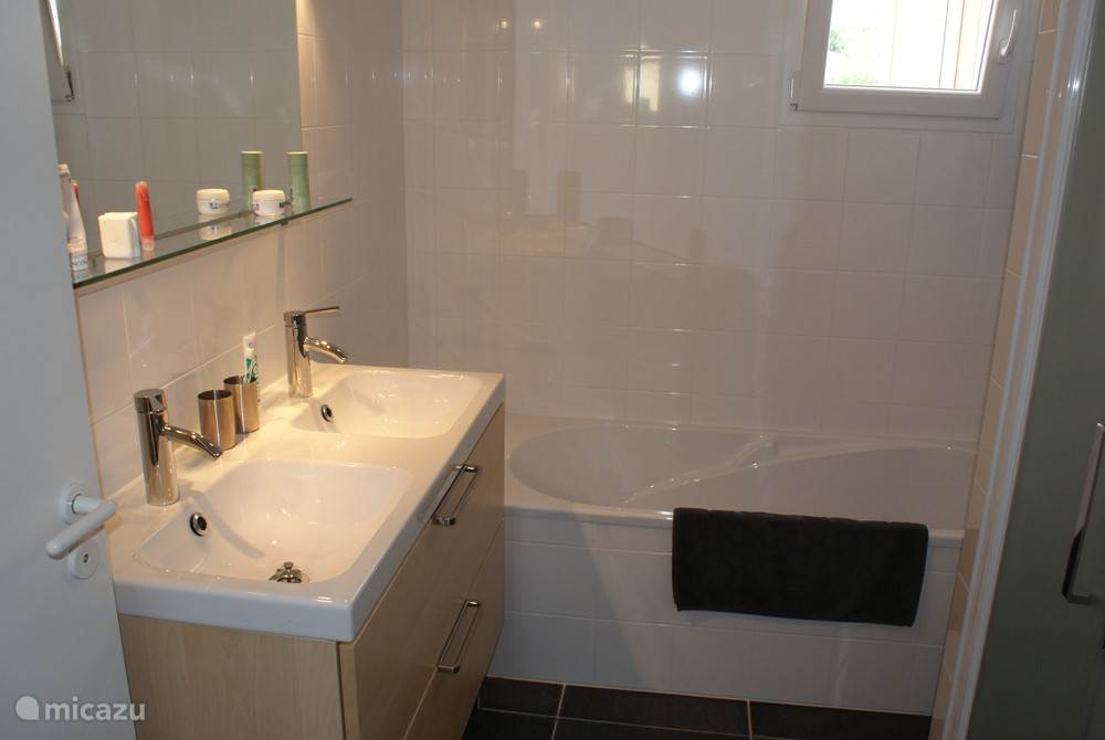 Bathroom first floor: double sink, tub, shower and towel radiator