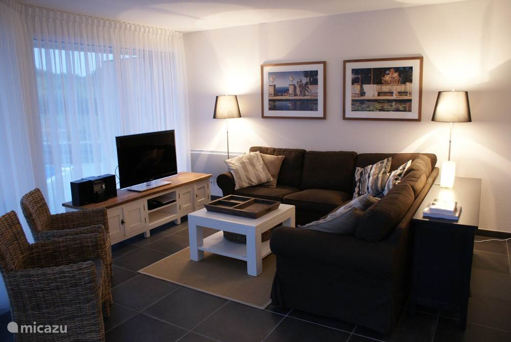 Sitting area with large flatscreen TV, DVD player and audio system