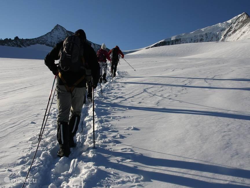 aangelijnd over de gletsjer richting de top van de Grossvenediger. De mooiste tour die je in Oostenrijk in de zomer kan doen!