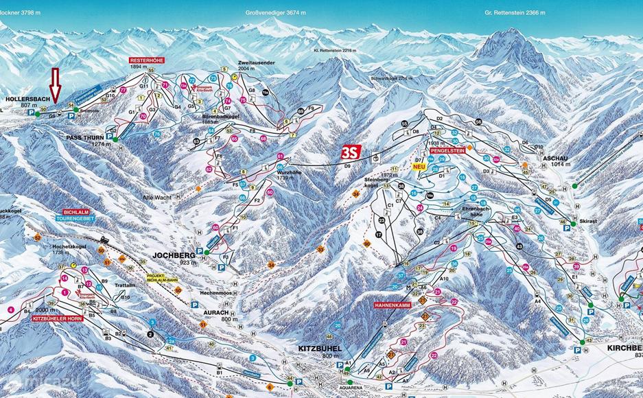 Meer als 200 kilometer pistepret op minder dan 1,5km van het huis. De Skigebied WIldkogel met 62Km piste en s´werelds langste verlichte rodelbaan van 14km lengte light op minder dan 3km van het huis. Het Zillertal en het Gletsjer Skigebied van Kaprun liggen op een half uur rijden afstand.