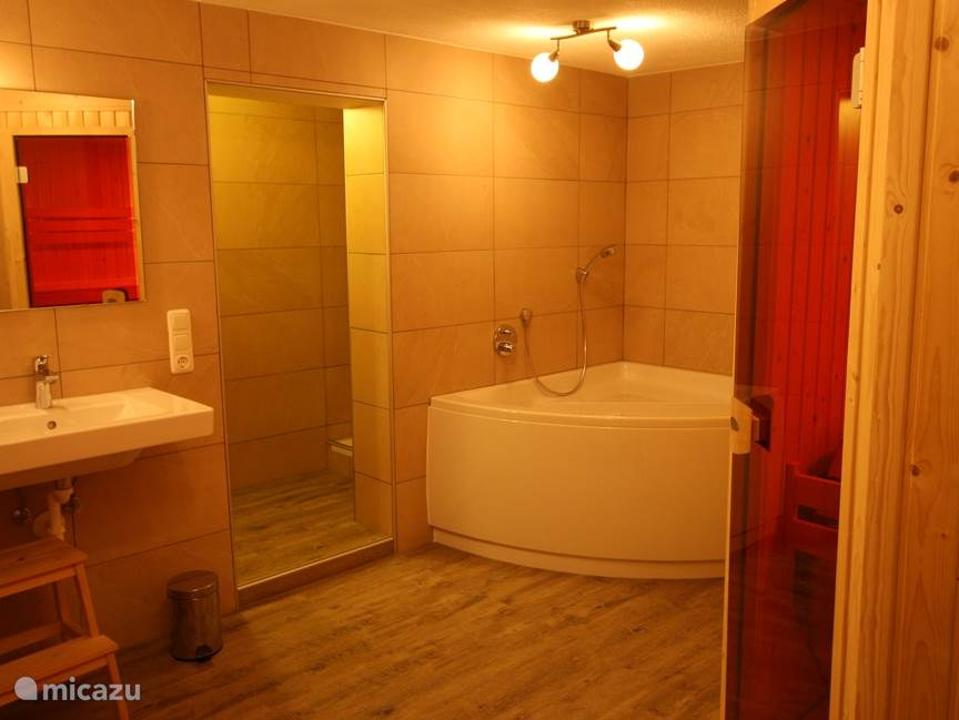 3 bathroom with luxury Villeroy & Boch Whirlpool, shower, double sink and luxury VSB Finnish Sauna