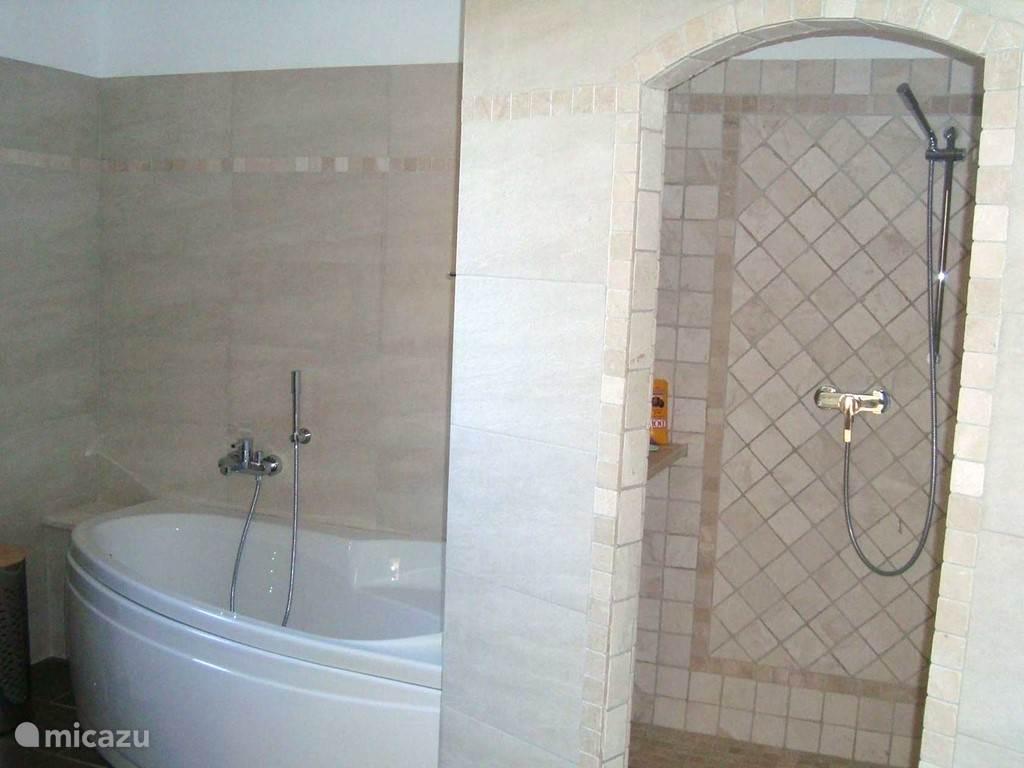 Badkamer 2 met bad en inloop douche en wastafel