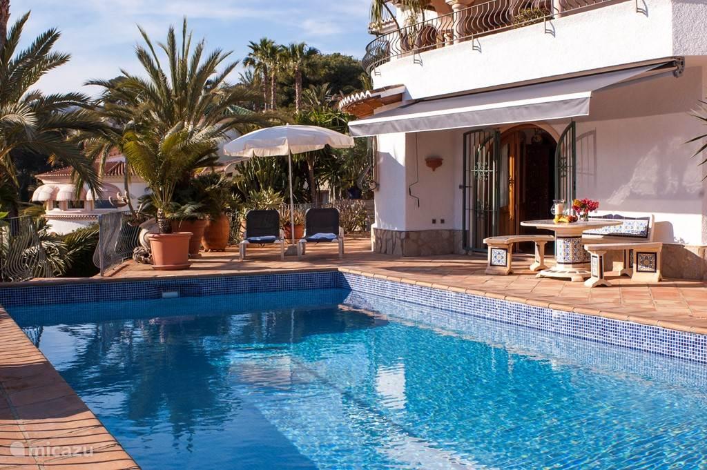 zwembad met zonnescherm, parassols en ligbedden