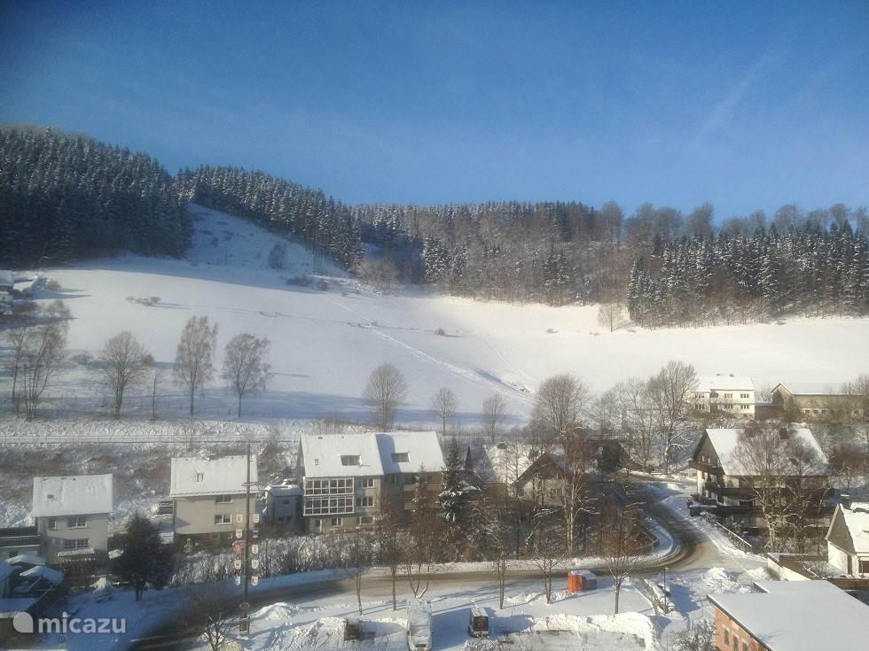 Winters uitzicht vanuit de woonkamer