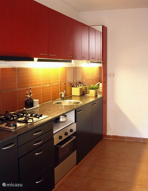 Compleet ingerichte keuken met gasfornuis, oven en vriezer.