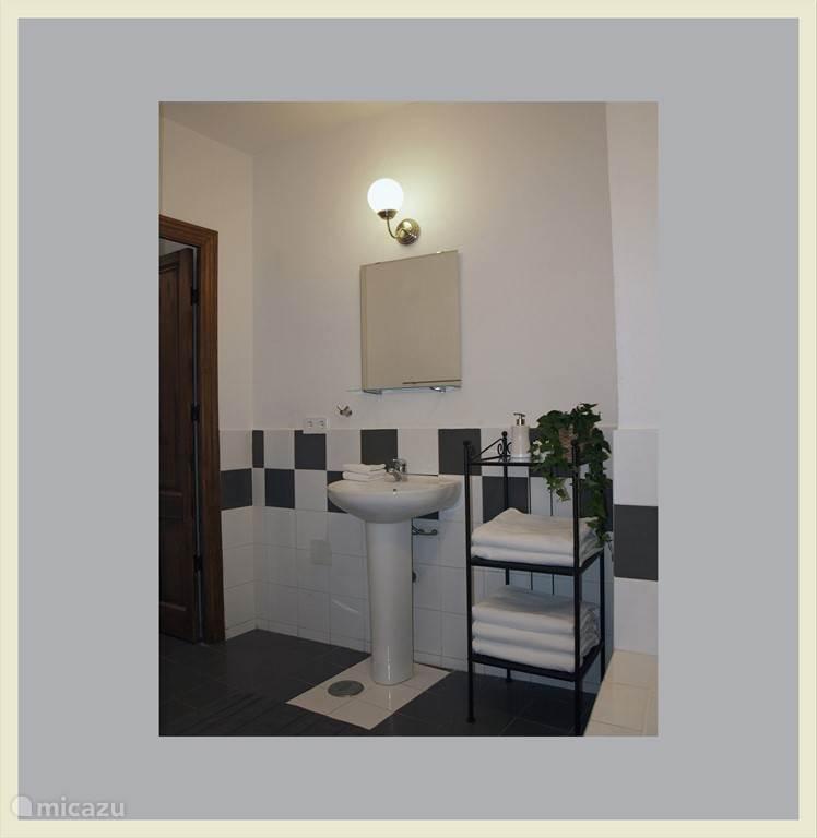 Badkamer met bad en aparte douche. Er is een aparte toilet aanwezig.