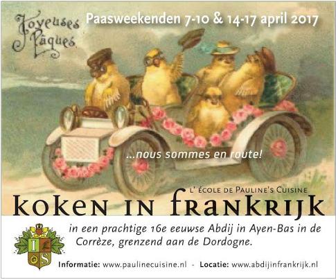 Pasen 7-10 en 14-17 april  Drie dagen koken, mooie wijnen, excursies en feestelijke avonden. Een kado voor slechts € 495,-- pp all inclusive.