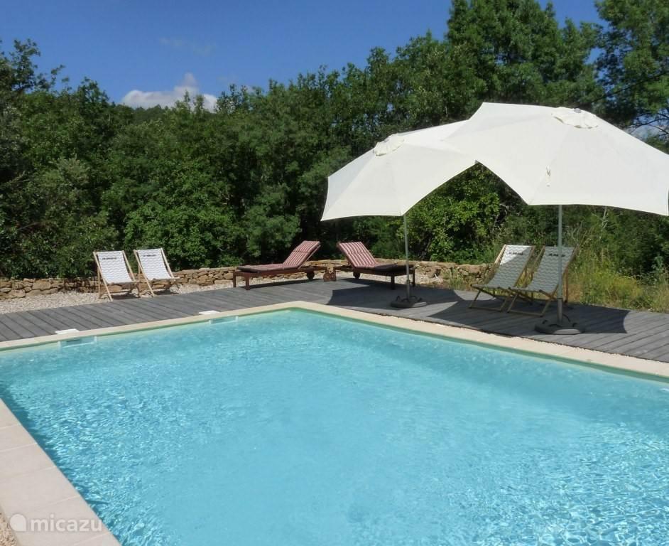 Heerlijk ruim (zoutwater) zwembad, ruim voorzien van ligbedden, stoelen en parasols