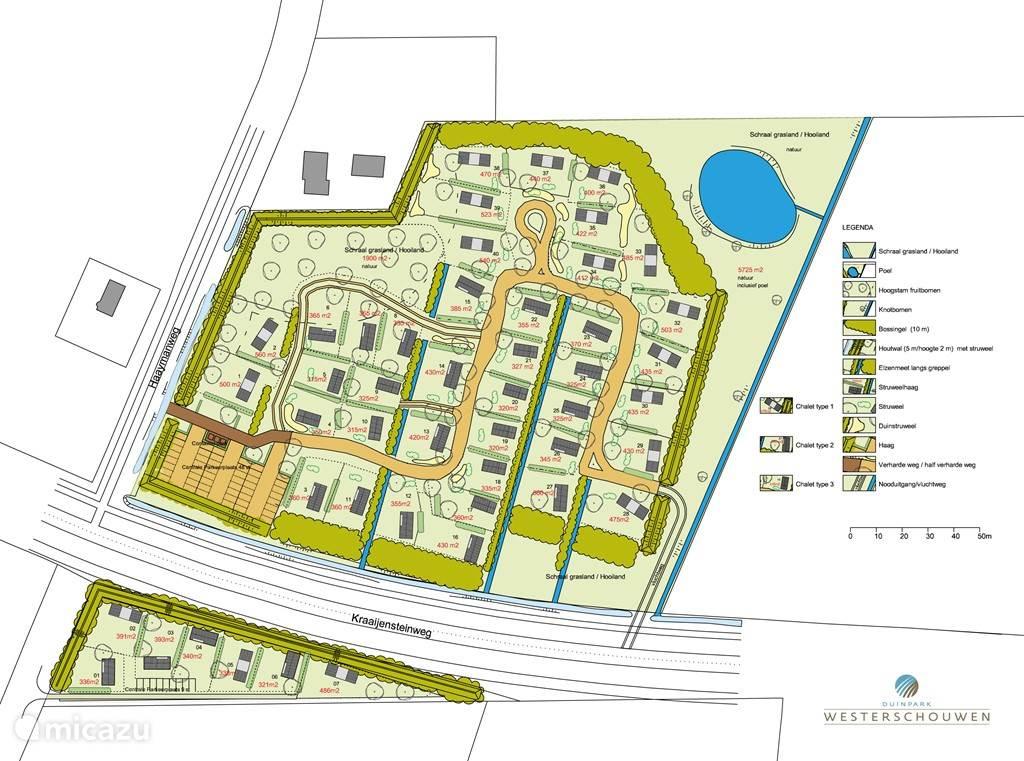 De plattegrond van Duinpark Westerschouwen