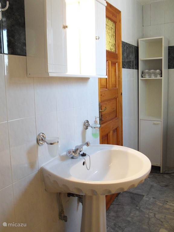 The bathroom, with shower, toilet, sink and washing machine.