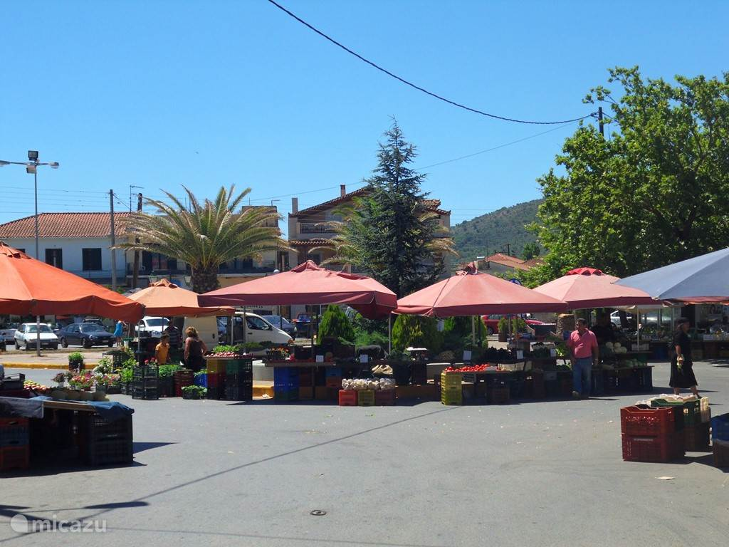 The market in the village, here you can buy fresh fruits and vegetables every Wednesday.