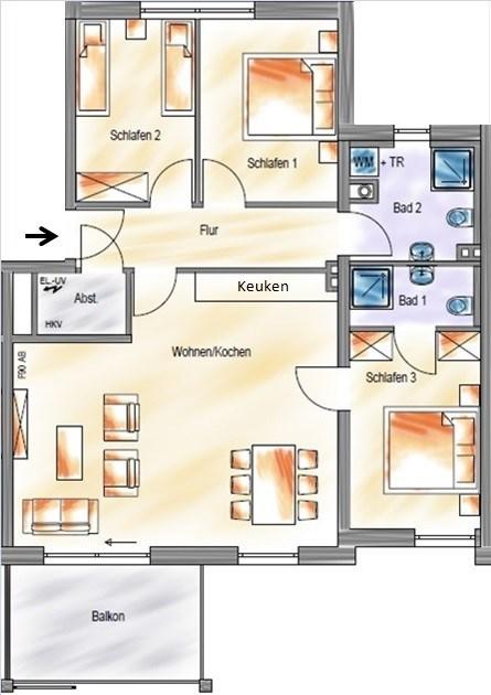 Plattegrond Keuken Restaurant : Appartement Duitsland, Sauerland, Neuastenberg – Winterberg, App