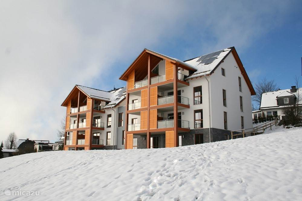The apartment, seen from the ski slope.