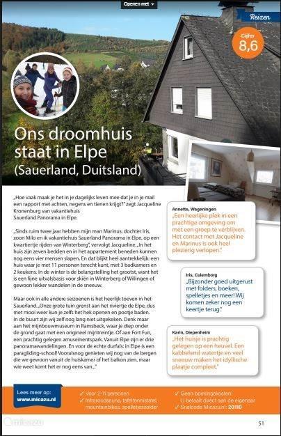 Zeer vereerd: Micazu heeft ons benaderd voor een pagina in de serie 'Ons droomhuis staat in...' in het magazine Ditjes en Datjes. Eind januari 2018 gepubliceerd.