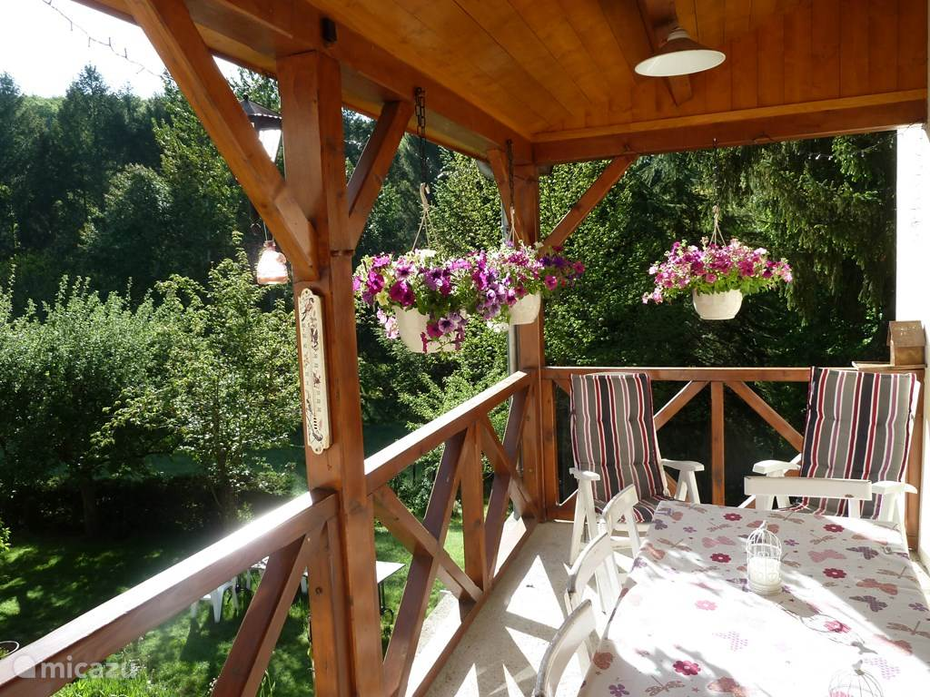 From the terrace overlooking the woodland garden