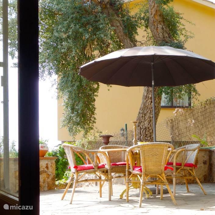 Zonnig terras  bereikbaar vanuit het benedenhuis