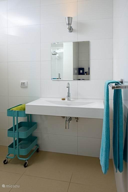 Badkamer grenzend aan slaapkamer met regendouche, wastafel en toilet