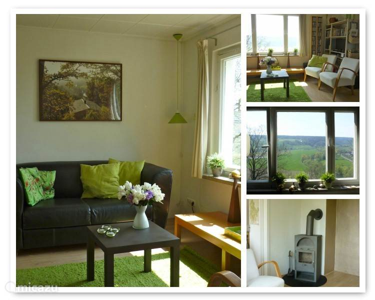 De woonkamer met heerlijk uitzicht, houtkachel, boeken, DvD-speler, satelliet-TV, CD-speler, radio en diverse dvd's en cd's.