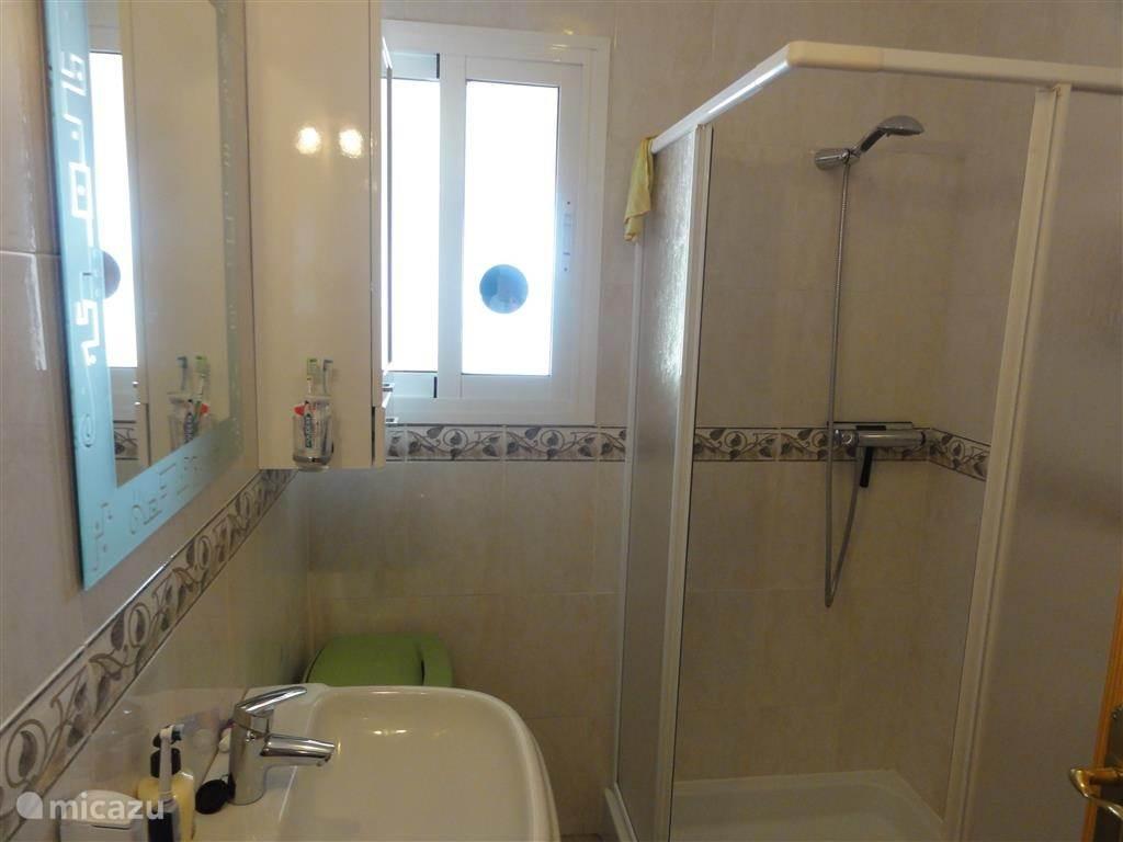 Badkamer met douche wastafel en toilet