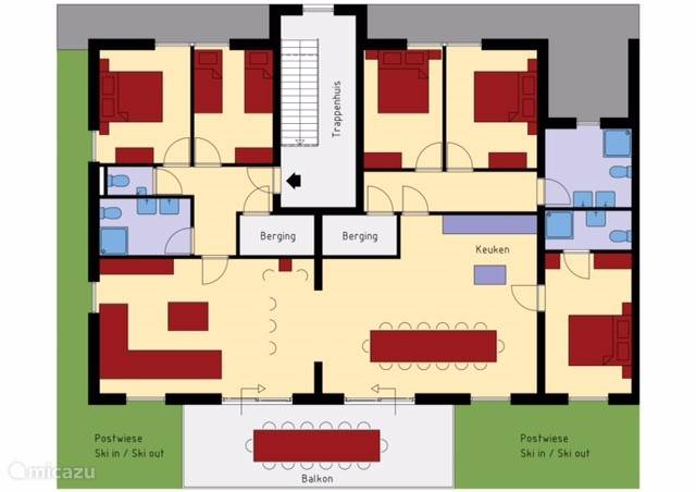 Plan of the apartment. Area is over 155 m2, this excludes the balcony of more than 18 m2