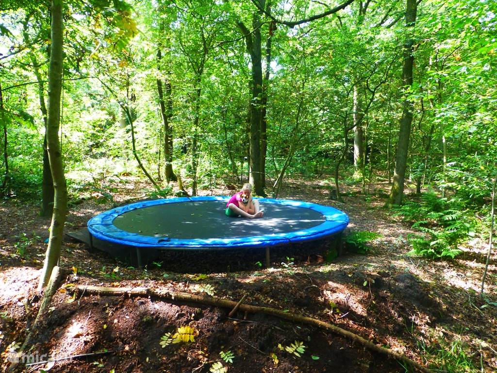 De trampoline is echt heel groot. Ook volwassenen zien we geregeld springen. En doordat het is ingegraven voelt het minder eng aan.